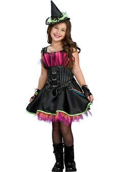 Rockin Out Witch Fancy Dress Costume 3-4 years 5-7 years 8-10 years Includes Dress and Hat Tights Boots and Gloves not included Fishnet gloves