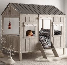"""Cabin Bed: Great idea for people whose kids or grandkids are """"homesick"""" for the cabin."""