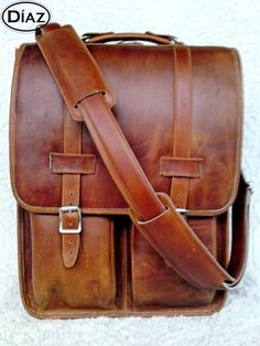ce4bf2e64037 DIAZ Large Leather Messenger Satchel Backpack Laptop Briefcase in Crazy  Horse Tanned Brown - Free Monogramming