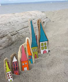 Driftwood, Elmer's Paint Pens, and Beauteous Houses Painted On The Wood!! Think Of The Ideas That Come To Mind!!