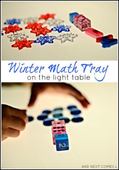 Winter themed math tray for kids on the light table from And Next Comes L