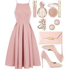 shop the look pink dress look spring look blush blush spring Trendy Dresses, Modest Dresses, Elegant Dresses, Cute Dresses, Beautiful Dresses, Casual Dresses, Pink Dress Casual, Long Dresses, Yellow Dress
