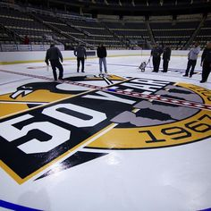 The #Pens 50th anniversary logo on the ice at CONSOL Energy Center!