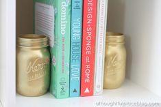 Gold mason jar book ends