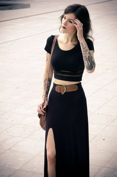 black maxi skirt, crop top #indigopoppy