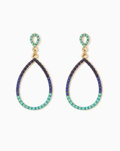 Perfect with that new maxi you have been waiting all the long cold April to wear: Women's Beaded Teardrop Earrings via #charmingcharlie #Women's_earrings #drop_earrings #blue #turquoise #aqua #navy #SS2015
