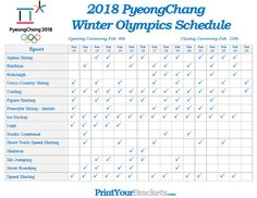 Printable Winter Olympic Schedule 2018 - PyeongChang Games