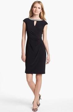 Alex Evenings Embellished Cap Sleeve Sheath Dress (Regular & Petite) | Nordstrom