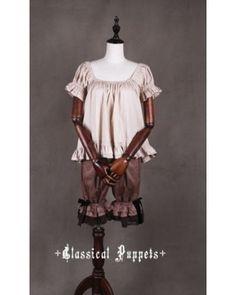 Classical Puppets Steam Band Inner Wear 4 Pieces #lolita #Petticoat  #Bonnet  #Undershirt  #Bloomers.