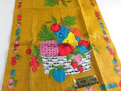 Vintage Linen Tea Towel Fruit Basket Retro Graphics Kitchen Home Decor Kitchenwares Dish Hand Towel New Unused With Label (14.00 USD) by LivingAVntgLife