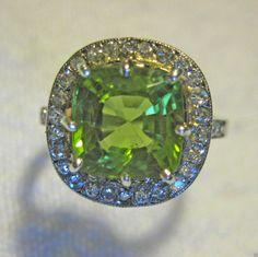 Bague Diamant Platine OR 18K Peridot ART Deco | eBay
