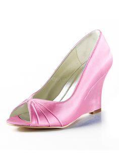 [$79.99] Blue Wedge Heel Peep Toe Satin Faux Fur Bridal Shoes