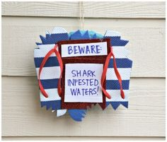 A fun collection of Shark Week Projects, crafts, recipes, decor, and more! Come celebrate shark week with Sand & Sisal! Wreath Crafts, Diy Wreath, Bead Crafts, Diy Crafts, Shark Craft, Flip Flop Wreaths, Shark Party, Birthday Party Themes, Birthday Ideas