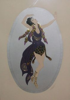Bacchante 1987 by  Erte, Limited Edition Print, Embossed Serigraph w/ Foil Stamping