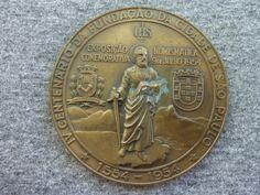 Brasil 1954 - Medalha em bronze da Sociedade Numismática Brasileira, alusiva ao 4o. Centenário da ci
