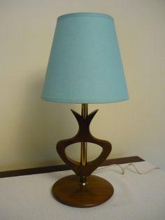 Vintage Mid Century Modern Teak Table Lamp Retro by bellaroni