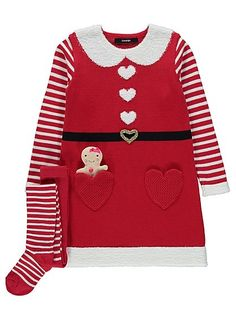 Get your little one looking fully festive this Christmas with this amazing Mrs Santa dress, created in a cosy knit with heart detail and fleece trim. Striped...