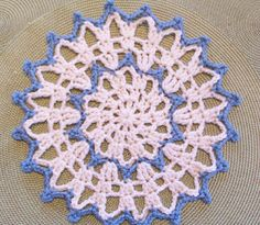 Tranquil Lace yarn doily, free pattern by Donna Mason-Svara.  Hook size H, regular 4-ply yarn.  Makes nice jar cover by threading ribbon through to tie.    . . . .   ღTrish W ~ http://www.pinterest.com/trishw/  . . . .    #crochet #circle