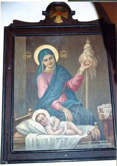 Mother Mary practicind the womanly arts. The Monastery of St.