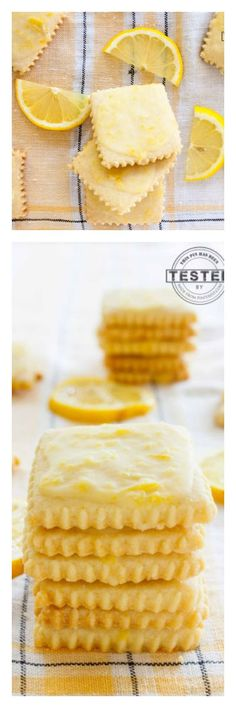 Lemon glazed shortbread cookies are seriously addicting. A buttery cookie, with a light, tart glaze that gives it just the right amount of zing! Lemon Curd Dessert, Lemon Desserts, Lemon Recipes, Mini Desserts, Cookie Desserts, Cookie Bars, Just Desserts, Sweet Recipes, Baking Recipes