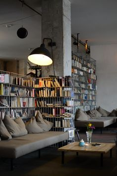 Library, moody home, interior design, book storage #berlin michel berger hotel