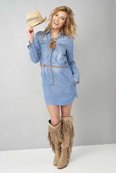 """Look """"cowgirl"""" grâce à cette jolie tunique / robe en jeans #eroscollection"""