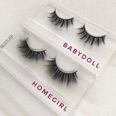 "Two of our best sellers! Which one is your favorite? Our ""Homegirl"" & ""Babydoll"" lashes make the perfect gifts! They're ultra wispie, light-weight, & reusable! Order y(Daily Makeup Step) Makeup Goals, Makeup Inspo, Makeup Inspiration, Makeup Tips, Beauty Makeup, Best Lashes, Fake Lashes, Mink Eyelashes, Basic Makeup"