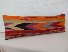 14''x40''  Bedding Kilim Pillows, Long Purple Orange Green Dyed Decorative Bed Pillows,Bohemian Decor Embroidered Kilim Oblong Cushion Cover