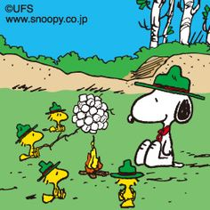 Scoutmaster Snoopy with Woodstock & Friends Roasting a Giant Ball of Marshmallows Over a Campfire Snoopy Love, Snoopy E Woodstock, Charlie Brown Und Snoopy, Charlie Brown Christmas, Peanuts Snoopy, Snoopy Beagle, Super Fun Games, Bd Comics, Archie Comics