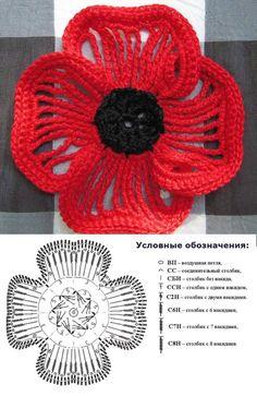 Crochet Poppy - Very pretty elongated crochets & single crochet edges. Link show only the flower & chart.#crochet #flower