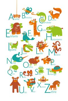 Portuguese Alphabet Poster with animals from A to Z, BIG POSTER 13x19 inches - Baby Children Nursery Custom Wall Print Poster. $15.00, via Etsy.