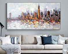 San Francisco canvas art oil yellow painting on canvas skyline abstract Palette knife heavy texture Large wall pictures cuadros abstractos Skyline Painting, City Painting, Yellow Painting, Oil Painting Abstract, Oil Paintings, Abstract Portrait, Portrait Paintings, Acrylic Paintings, Frames On Wall