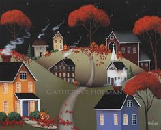 Primitive Halloween Folk Art Print Wickford by catherineholman, $16.95