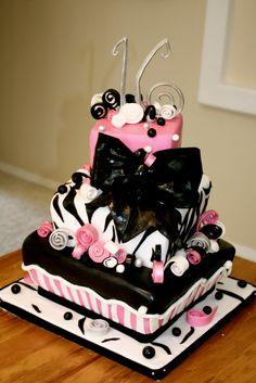 sweet 16 cakes for girls | bumble cakes: sweet sixteen zebra cake!
