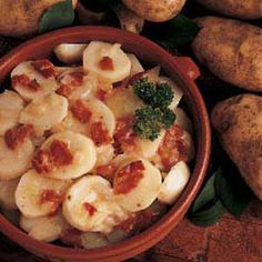 German Potato Salad, this is close to my mothers. She put equal amounts of sugar and vinegar and two stalks of celery.  She was pure German!!