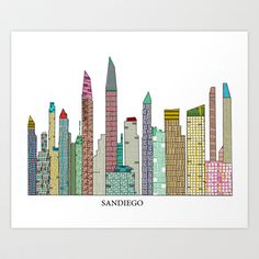 San Diego skyline  Art Print by bri.buckley - $22.00