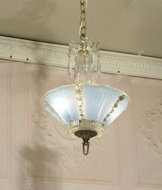 C 30\'s Art Deco Ceiling Light Fixture Chandelier Jadeite Antique ...