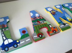 Custom Painted Boy's Wall Letters- Trucks, Cars, Helicopters / Transportation Theme