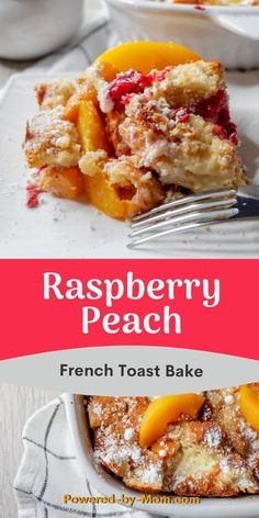 This Raspberry Peach French Toast Bake is a decadent and oh so delicious breakfast or perfect for brunch. Prep it the night before and the next morning just pop it in the oven to bake. Get ready for the house to smell oh so scrumptious #frenchtoast #breakfast #brunch #raspberry #peaches #frenchtoastbake #frenchtoastcasserole #frenchbread #easybreakfast #easyrecipe