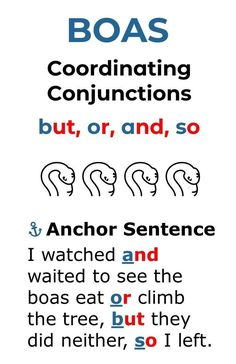 The acronym, BOAS, will help your grades 2-5 students learn and be able to identify the common coordinating conjunctions. The anchor sentence will help your students apply these conjunctions correctly in their writing.  Read the article and the quick lesson tips. Plus, download the FREE coordinating, subordinate (subordinating), and correlative conjunctions posters.