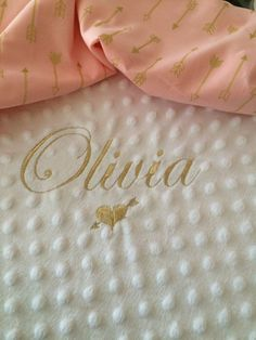 Personalised Minky Dimple Fleece Blanket Gold Thread by LittleBootiqueGifts on…