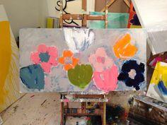 Newest commission Flower Fall 24x48  Kerri Rosenthal