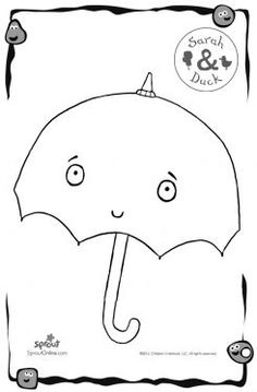 Umbrella – Sarah & Duck Coloring Pages for Kids