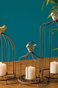 Louise Birdcage Candle Holders - Set of 3 by Vintage Decor Revamp on Candle Centerpieces, Candle Lanterns, Candle Holder Set, Bird Cages, Bird Houses, Vintage Decor, Candlesticks, My Dream Home, Sweet Home