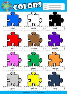 colors esl vocabulary crossword puzzle worksheet for kids