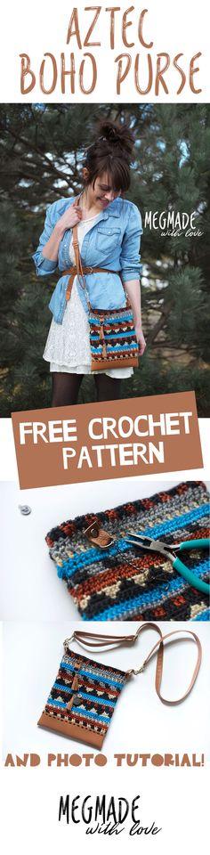 Free Crochet Pattern for Aztec Boho Purse