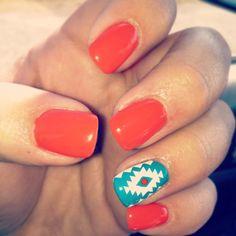 Summer nails bright Aztec nails. Cute and fun!