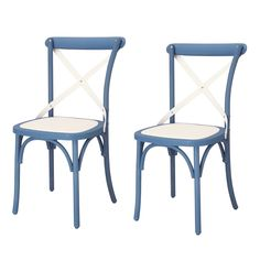 Joveco Econ-Friendly Nylon Vintage-Style Dining Chair Curved Leg Cross Back, Norway Blue and French White (Set of 2)