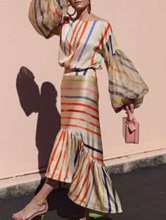 Boat Neck Stripe Stitched Lantern Long Sleeve Maxi Dresses for Women Long Sleeve Maxi, Maxi Dress With Sleeves, Ruffle Sleeve, Beautiful Dress Designs, Beautiful Dresses, Awesome Dresses, Elegant Dresses, Gorgeous Dress, Trendy Dresses