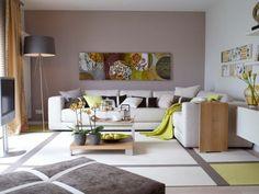inneneinrichtung ideen wohnzimmer gardinen gelb liegesessel ... - Wandfarben Landhausstil Wohnzimmer